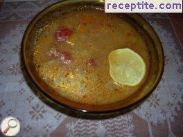 Red lentils with whole tomatoes and potatoes