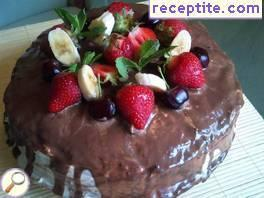 Layered cake with mascarpone and chocolate spread