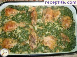 Baked legs with green onions