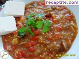 Rice eggplants and peppers