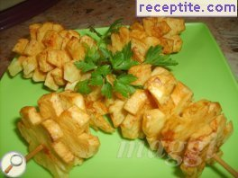 Skewers fried potato blossoms