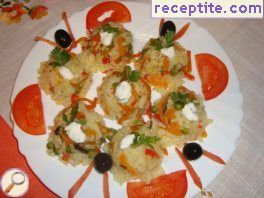 Breaded herring and rice with vegetables
