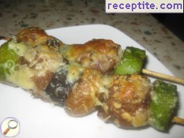 Skewers zucchini and minced meat