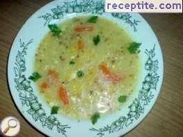 Soup with buckwheat and cottage cheese