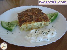 Gratin with leeks and pickled cucumbers