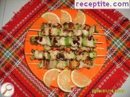 Fish skewers with peppers and onions