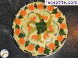 Potato layered cake with crab sticks