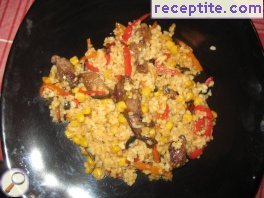 Rice with vegetables and veal