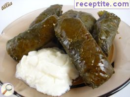 Dolmas oven with lime or grape leaves