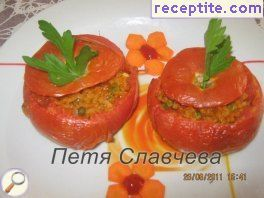 Stuffed tomatoes with rice and peas