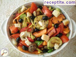 Salad of roasted vegetables on BBQ