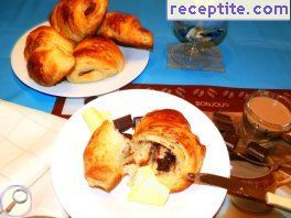 Croissant puff pastry with chocolate spread