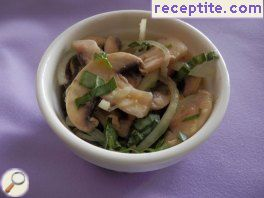 Mushroom salad with basil and onion