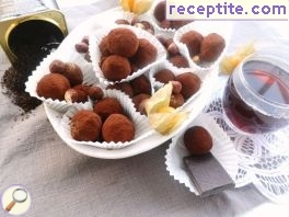 Cocoa balls with tea