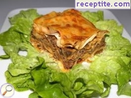 Banitsa with minced meat, mushrooms and cheese
