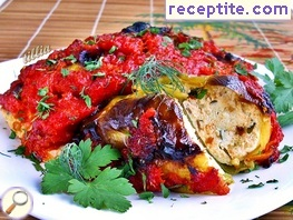 Roasted peppers stuffed with feta cheese and tomato sauce