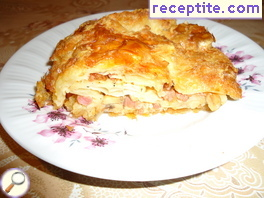 Banitsa with minced meat, mushrooms, cheese and soda