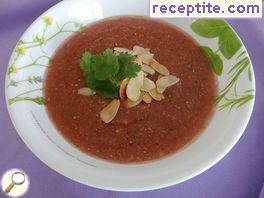 Cold tomato soup with almonds and balsamic vinegar