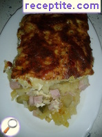 Potato gratin with ham and cheese