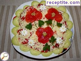 Shopska salad with poppies