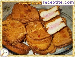 Fried slices of ham
