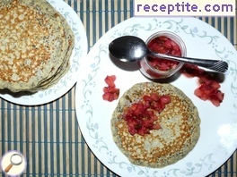 American pancakes with strawberry salsa and whose