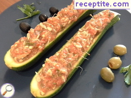 Stuffed zucchini raw seeds and vegetables