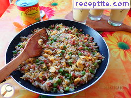 Rice with ham and garlic on Chinese