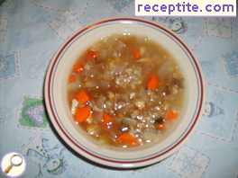 Diet soup of trout and rice