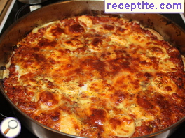 Pizza with stale bread and minced meat