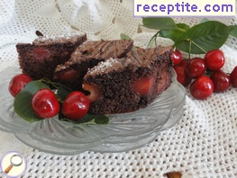 Juicy chocolate cake with cherries