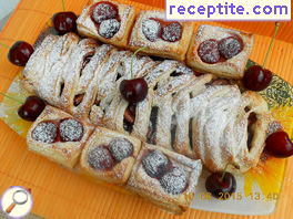 Strudel puff pastry with cherry