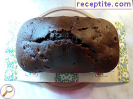 Cocoa sponge cake in baking