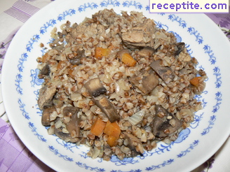 Pork with buckwheat and mushrooms