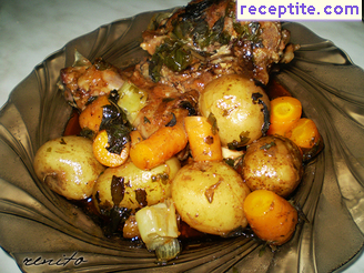 Lamb stew with vegetables in