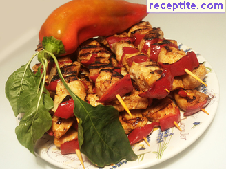 Chicken skewers with tomatoes and onions