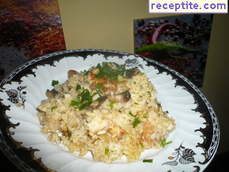 Pork with rice and mushrooms