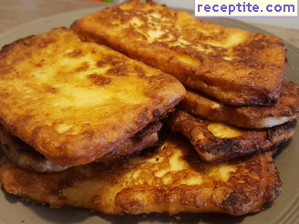 Fried slices of cheese