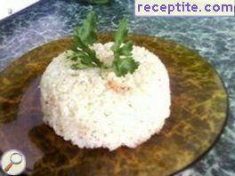 Rice with crab sticks