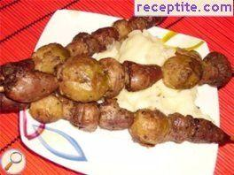 Skewers with chicken hearts