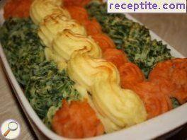 Tricolour mashed potatoes
