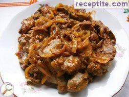 Chicken livers with mushrooms and chutney