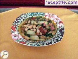 Soup skinless sausages and beans old