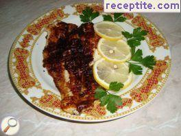 Roasted fish with mustard grill pan