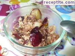 Chocolate krambal plums and pears