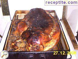 Stuffed pig with mushrooms