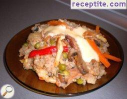 Chicken with rice and vegetables in Chinese style