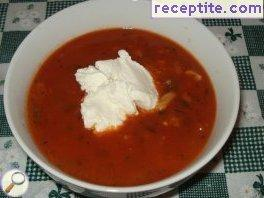 Tomato soup with a bouquet of spices