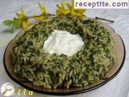 Nettle with rice and spices spring
