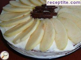 Chocolate cake with cream cheese and jelly apples